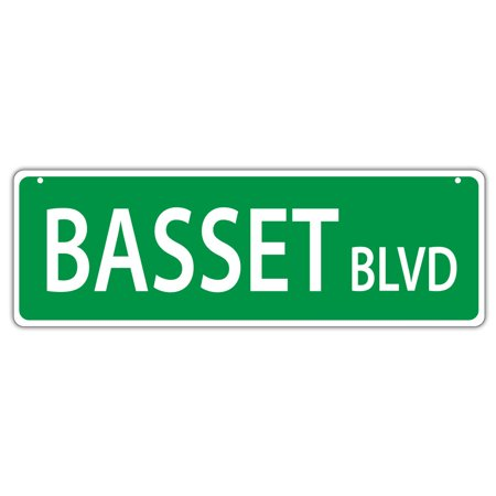 Plastic Street Signs: BASSET BLVD (BASSET HOUND) | Dogs, Gifts (Basset Hound Silhouette)