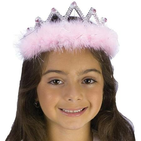 Morris costumes FW8128PKD Tiara Marabou Pink Diamond - Toddler And Tiara Halloween Costume
