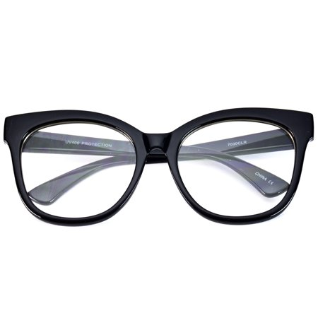 f02065ddc2a5 WearMe Pro -Oversized Thick Frame Clear Cat Eye Non-Prescription ...