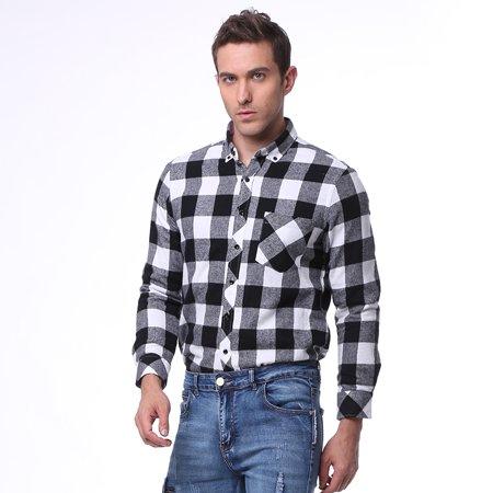 4530ed9df BOYNEWYORK - Men's Casual Long Sleeve Plaid Button Down Shirt Tops ...