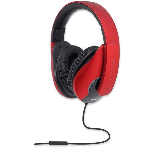 Oblanc Shell Lightweight and Comfortable Fit Audio Headphones with In-Line Microphone, Red... by SYBA