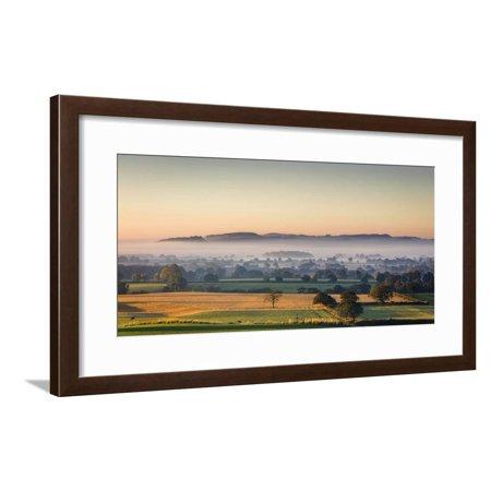 Autumn Morning Light Rakes across Cheshire Plain with Beeston Castle and Peckforton Sandstone Ridge Framed Print Wall Art By Garry -