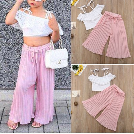 Striped Lace Kids Toddler Girl Clothing Set Off Shoulder Crop Top T-Shirt Pants Cute Clothes Girls