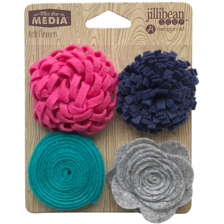 Jillibean Soup Mix The Media Felt Flowers 4/Pkg-Touch Of (Jeweled Felt Flowers)