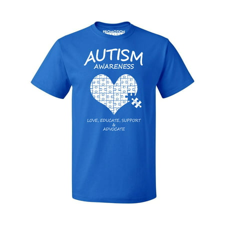autism awareness support heart puzzle men's t-shirt, l,