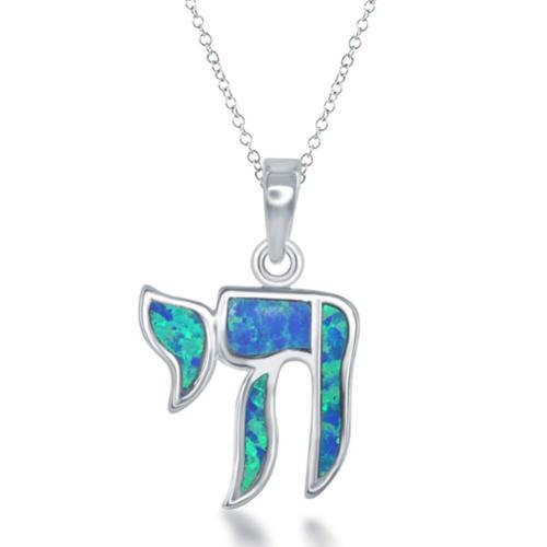La Preciosa Sterling Silver Created Blue Opal 'Chai' Necklace by Overstock