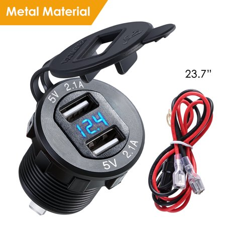 4.2A Dual USB 2.1A Charger Socket Waterproof Power Outlet W/ LED Voltmeter Wire In-line 10A Fuse for 12-24V Car Boat Marine Motorcycle