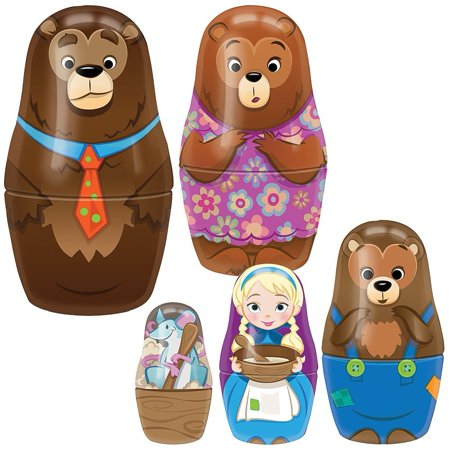 Goldilocks & Bears Nesting Dolls Set - 5 Fairytale Characters w/ House Box, 5 nesting dolls ranging from 4.25 to 1.5 By SCHYLLING ASSOCIATES - Fairytale Girl Characters