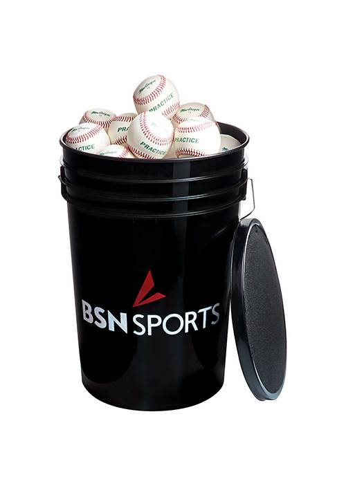 Sports Bucket with 79P Baseballs in Black by Athletic Connection
