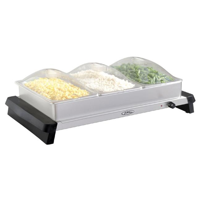 BroilKing NBS 3SP Professional Triple Buffet Server With Stainless Base U0026  Plastic Lids