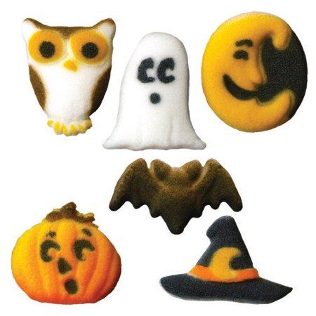 Cupcake Decorations For Halloween (Cutie Creepers Mini Assortment Sugar Decorations Toppers Cupcake Cake Cookies 12 Count)