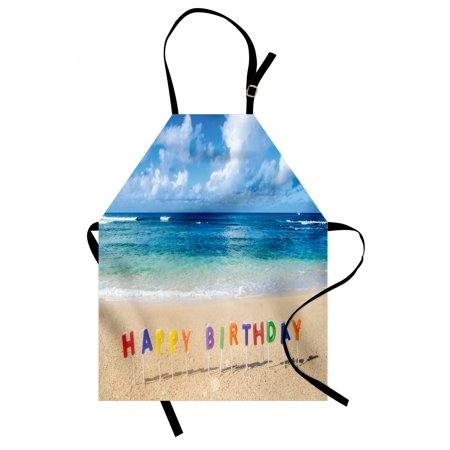 Birthday Apron Happy Birthday Sign on the Tropical Beach in Hawaii Exotic Sweet Surprise Theme, Unisex Kitchen Bib Apron with Adjustable Neck for Cooking Baking Gardening, Multicolor, by Ambesonne (Hawaiian Themed Decorating Ideas)