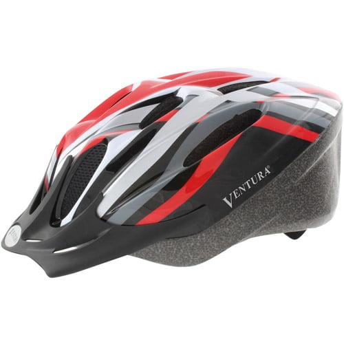 Ventura Red/Black/White/Silver Cycle Helmet, Adult