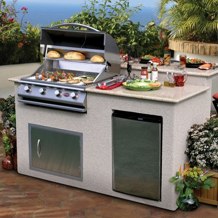 Cal Flame 6 ft. Stucco Grill Island With Granite Top And 4 Burner Gas Grill