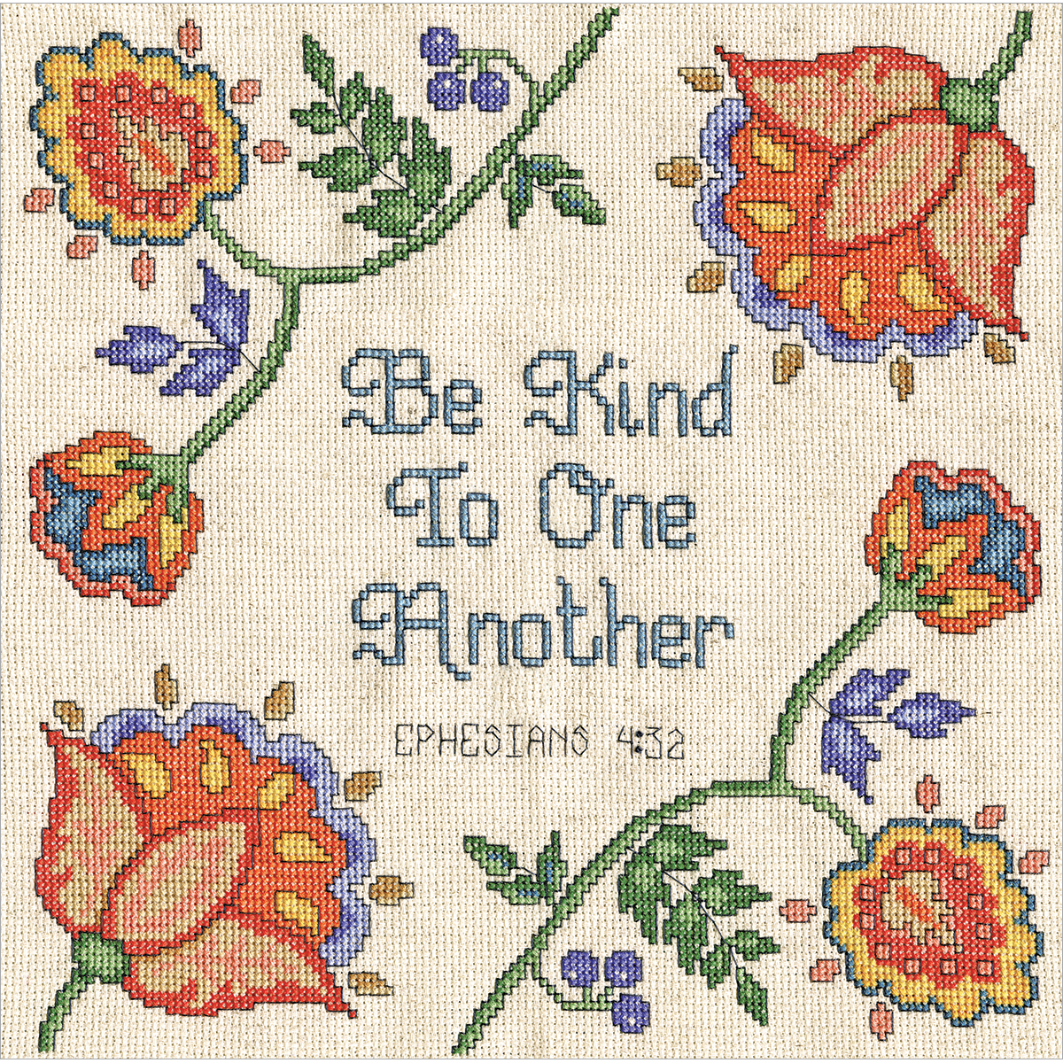 "Be Kind Counted Cross Stitch Kit, 10"" x 10"", 14-Count"