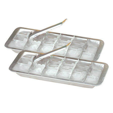 Vintage Kitchen Aluminum Metal Ice Cube Trays, Set of 2 – Each Tray Features 18 Slot Ice Cube Maker with Easy Release Handle