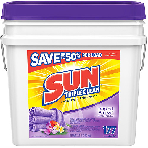 Sun Triple Clean Tropical Breeze Powder Laundry Detergent and All Purpose Cleaner, 22.7 lbs