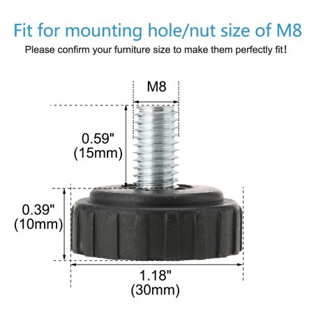 M8 x 15 x 30mm Screw on Leveling Feet Floor Protector for Apartment Table 24pcs - image 1 of 7