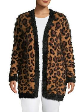 Plus Leopard-Print Open-Front Cardigan