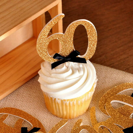 60th Birthday Party Ideas. Ships in 1-3 Business Days. Glitter Gold Number