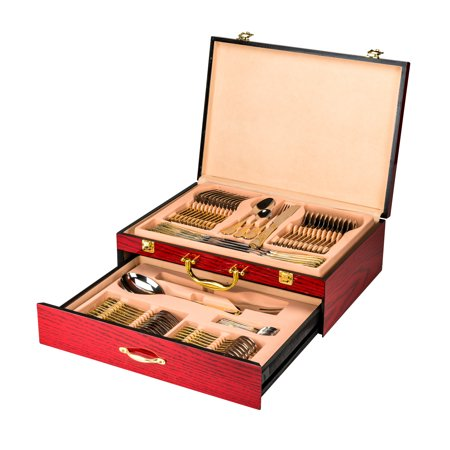 Venezia Collection Flatware Chest holds up to 75 Pieces of Silverware Forks Knives Spoons, Deluxe 2-Drawer Storage Box Case w/High Gloss Finish, Gold-plated Handle & Latches](Batman Chest Piece)