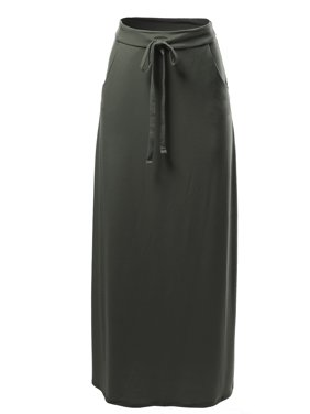 A2Y Women's Drawstring Waist Side Pockets Rayon Maxi Skirt Dark Olive L