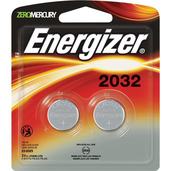 Energizer EVE2032BP2CT 3 V Watch & Electronic Batteries, Black & Silver by Energizer