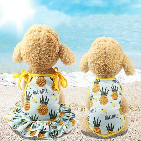 Micelec Lovely Pineapple Pet Dog Cat Dress/Vest Summer Costume Apparel Couple Outfit