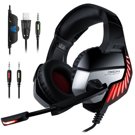 PS4 Xbox One Gaming Headset, OMIKUMA K5 Pro Over-Ear Gaming Headphones with Mic, Stereo Bass Surround, LED Lights and Volume Control for Laptap, PC, Mac, and