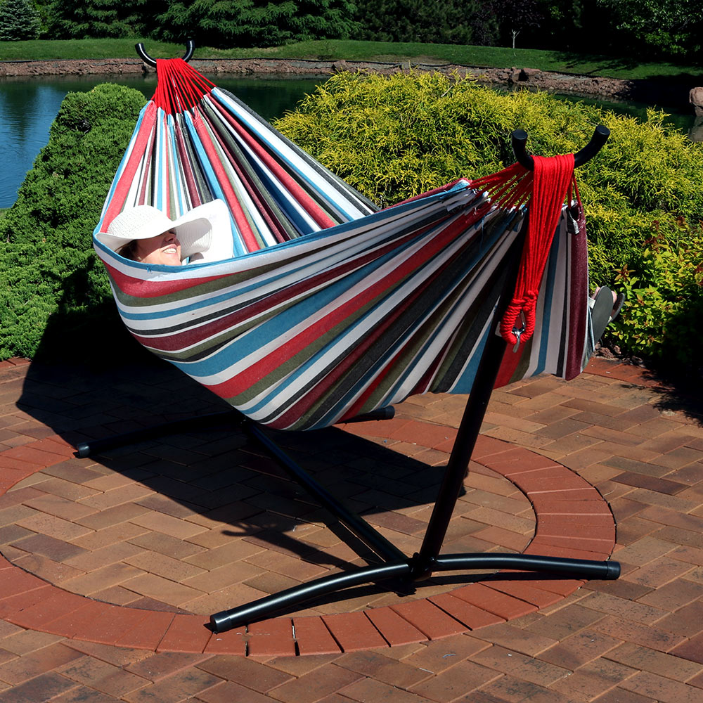 Sunnydaze Extra Large Brazilian Double Hammock with Stand and Carry Bag, Max Weight: 400 Pounds, Cool Breeze
