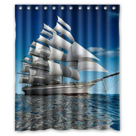 HelloDecor Ship Shower Curtain Polyester Fabric Bathroom Decorative Curtain Size 60x72 Inches ()