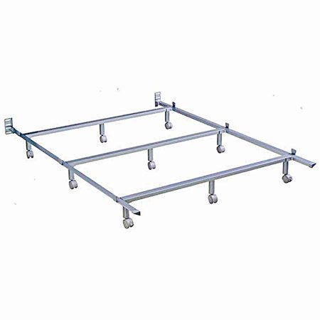 Silver Powder Coated Steel Bolt-On Bed Frame with Angled Tubular Side Rails, California King