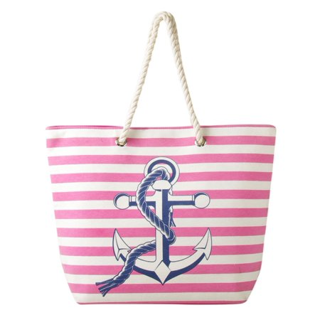 Swan Comfort Striped Canvas Beach Bag Anchor Design Tote Pink
