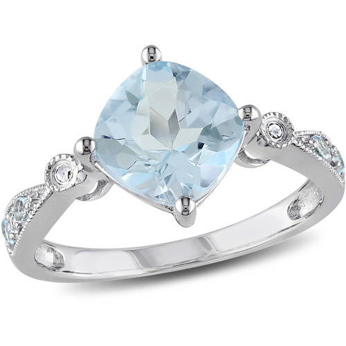 2-3/5 Carat T.G.W. Blue Topaz and Diamond-Accent Fashion Ring in Sterling Silver