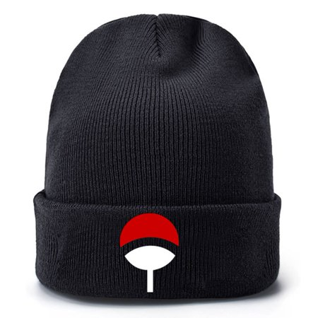 Fancyleo Anime Lovers Naruto Beanie Uchiha Family Logo Embroidered Cotton Winter Hat Knitted Beanies Hat Hip Hop Knit Cap
