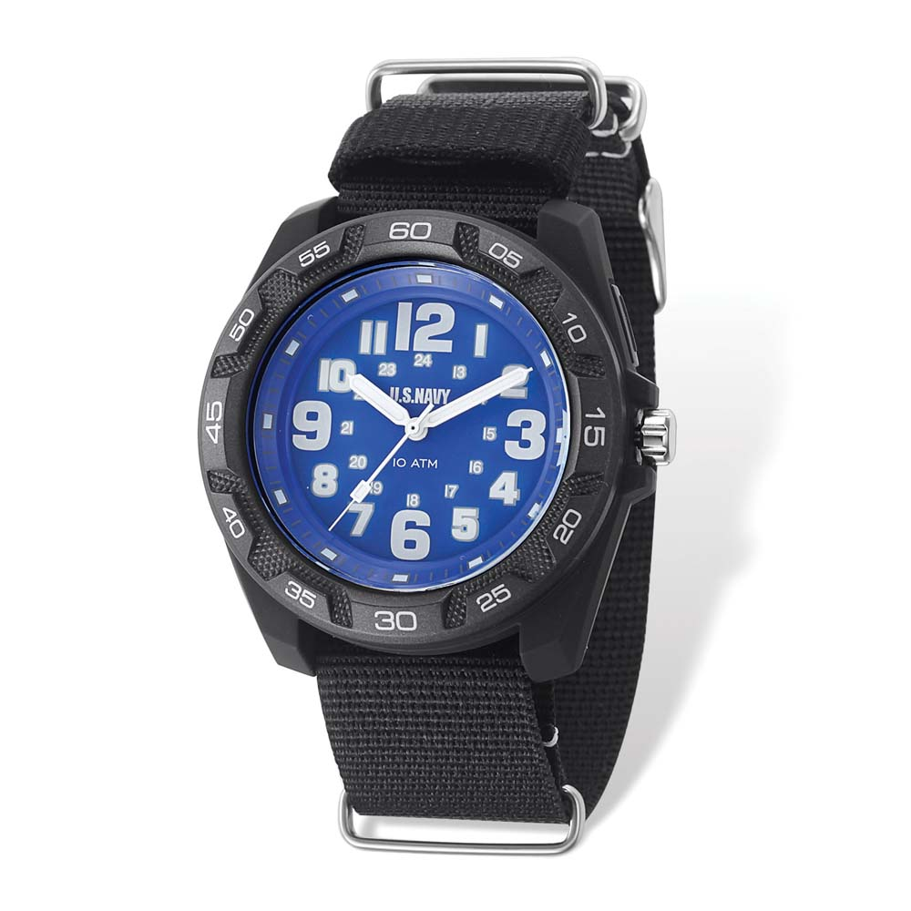US Navy Lighted Blue Dial & Black Nylon Strap Watch