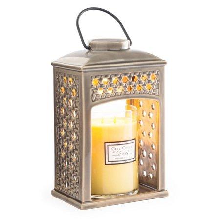 "10.5"" Decorative Taupe Gray Ceramic Wicker Weave Candle Warmer Lantern"