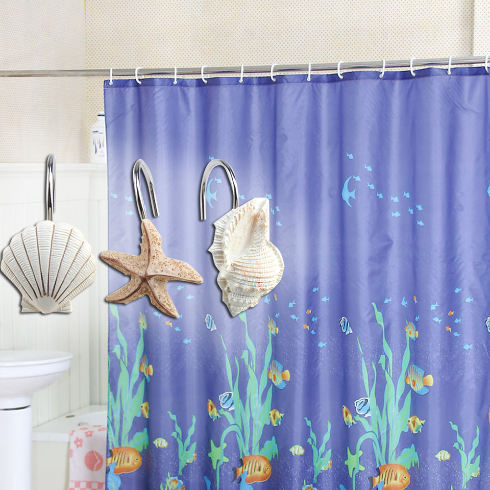 Image Shower Curtain Hooks Rings Set Of 12 Home Decorative Seashell Shell