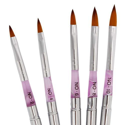BMC 5pc Nail Art UV Gel Acrylic False Tips Carving Detailing Salon Pen Brush Kit