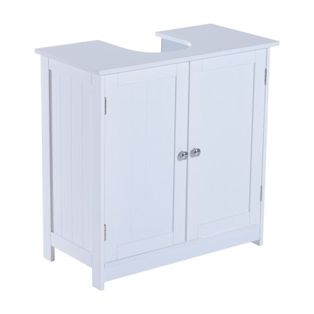 Homcom 24 pedestal sink bathroom vanity cabinet white - Walmart bathroom vanities with sink ...