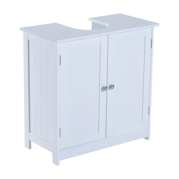 Homcom 24 Pedestal Sink Bathroom Vanity Cabinet White Walmart