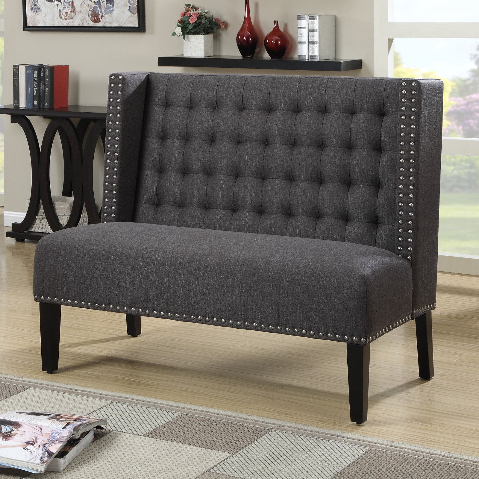Home Meridian Banquette Bench   Tuxedo Anthracite