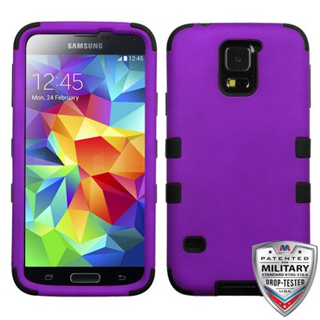 Samsung Galaxy S5 Case - Wydan Tuff Hybrid Hard Shockproof Case Protective Cover Purple on