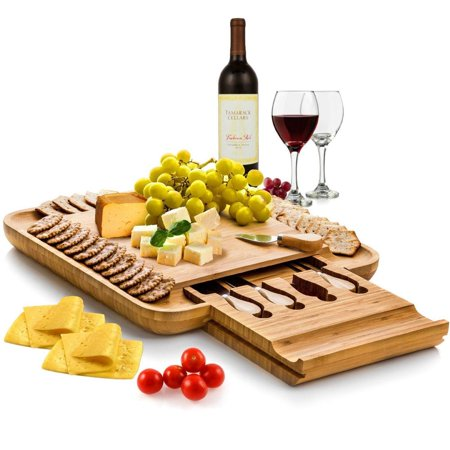 (Bamboo Cheese Board with Cutlery Set, Wood Charcuterie Platter and Serving Meat Board with Slide-Out Drawer with 4 Stainless Steel Knife and Server Set - Personalized Gifts. Designed By: Bambusi)