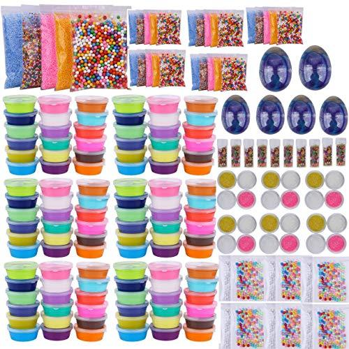 Slime Bulk Party Favors Supplies  54 Pack Ready Slimes Birthday Gifts Craft Kits for Girls Boys  Set Includes Glow Powder, Glitters, Surprise Putty Egg Putty Fruit Slices, Fishbowl Foa](Bulls Party Supplies)