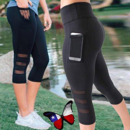0a6bad934c7634 FITTOO - Womens Capri YOGA Workout Running Gym Sport Pants Leggings Fitness  Black Mesh - Walmart.com