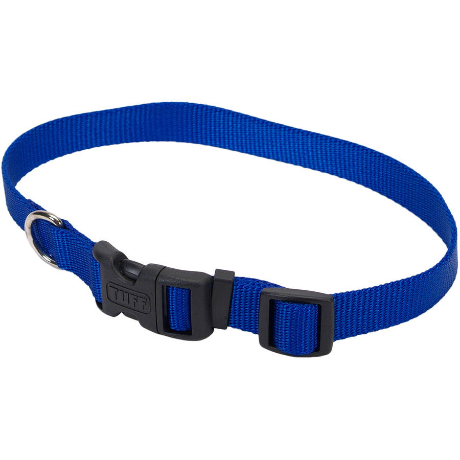"""Adjustable Nylon 5 8"""" Dog Collar with Tuff Buckle-Blue, Neck Size 10""""-14"""" by Coastal Pet Products"""