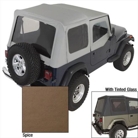 Soft Top With Door Skins, Spice, Tinted Windows, 88-95 Jeep (2012 Jeep Wrangler Tinted Soft Top Windows)