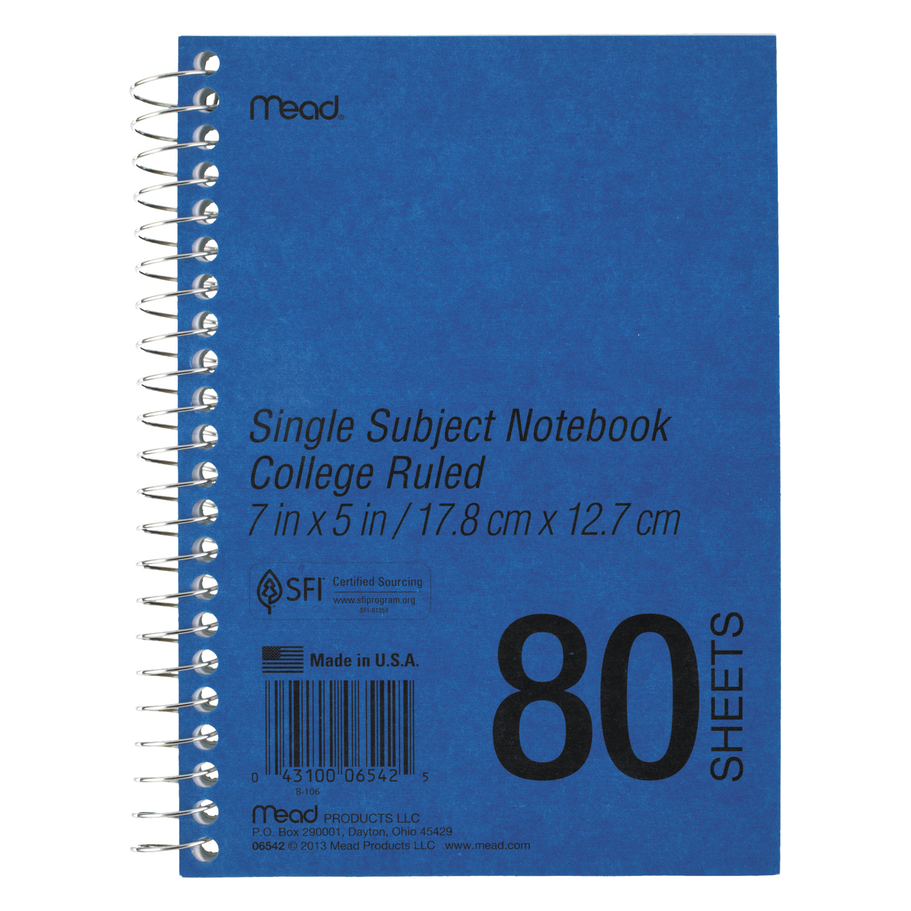 Mead DuraPress Cover Notebook, College Rule, 7 x 5, White, 80 Sheets