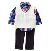 Only Kids Infant Boys 3 Piece Dress Up Outfit Pants Plaid Shirt Sweater Vest